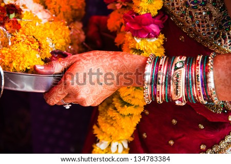 Asian Bridal Henna,intricate designs from Indian art/Henna,Mehndi/India - stock photo