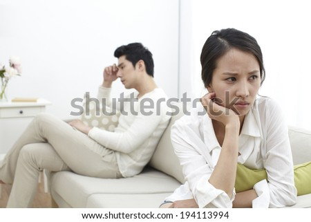Asian couple arguing - stock photo