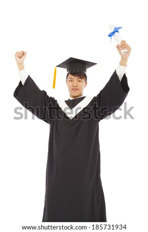 asian happy graduating student raise hand with diploma - stock photo