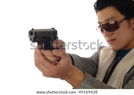 asian man holding gun