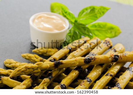 Asparagus - delicacies, gourmet meal - grilled asparagus - stock photo
