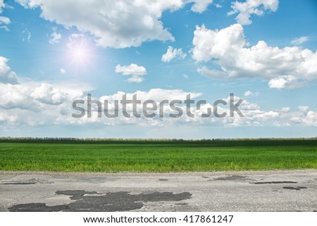 Asphalt road and green field at sunny summer day