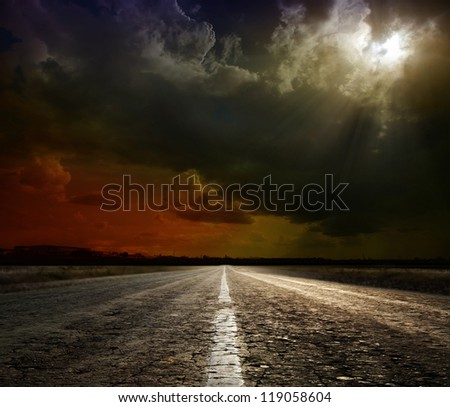 asphalt road. Shallow depth of field - stock photo