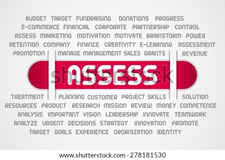 ASSESS word of business on red line - stock photo