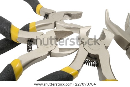 Assorted hand tools isolated on white background - stock photo