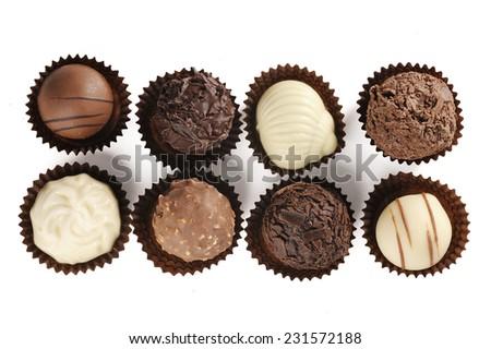 assortment of fine chocolates - stock photo