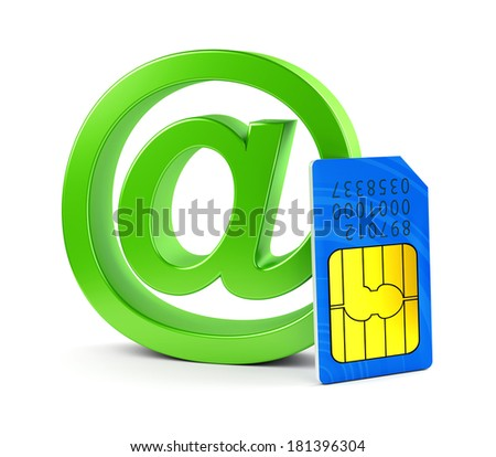 """At"" email symbol and SIM card isolated on white background. Abstract mobile wireless communication technology, internet and business concept. - stock photo"