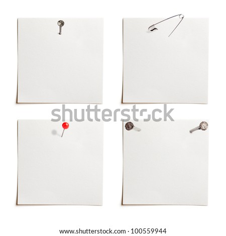 attached sheets of paper and elements for attaching paper: pin, nail