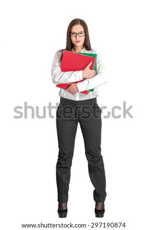 attractive businesswoman in glasses holding red and green folders isolated on white background   - stock photo