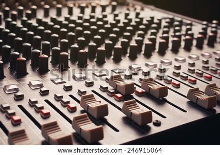 audio mixing console ,mixer slider - stock photo