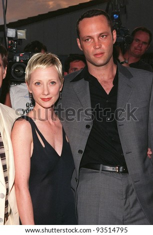 "10AUG98: Actress ANNE HECHE & actor VINCE VAUGHN at the world premiere, in Los Angeles, of their new movie ""Return to Paradise."""