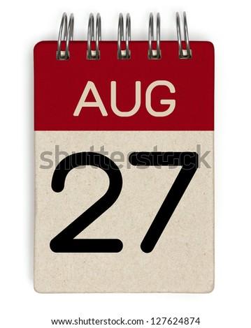 27 august calendar - stock photo
