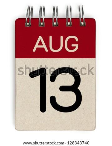 13 august calendar - stock photo