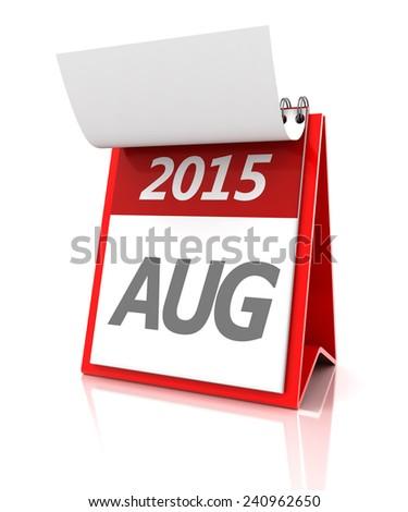 2015 August calendar, 3d render - stock photo