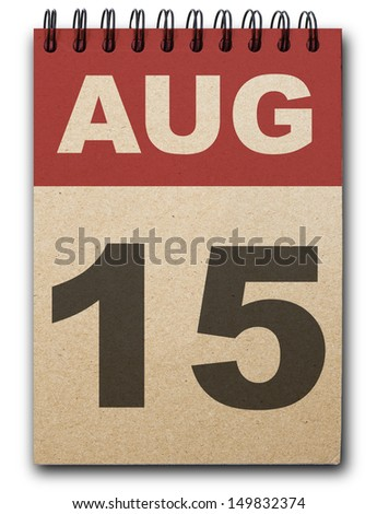 15 August calendar on recycle paper - stock photo