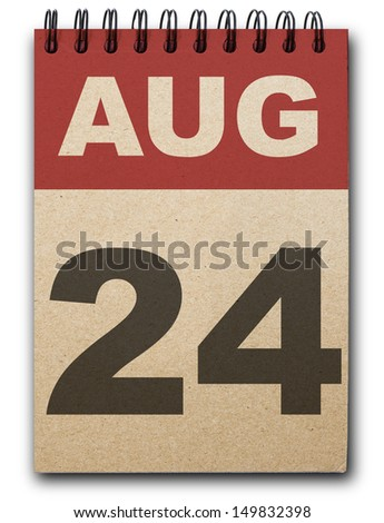 24  August calendar on recycle paper - stock photo