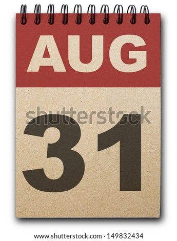 31 August calendar on recycle paper - stock photo