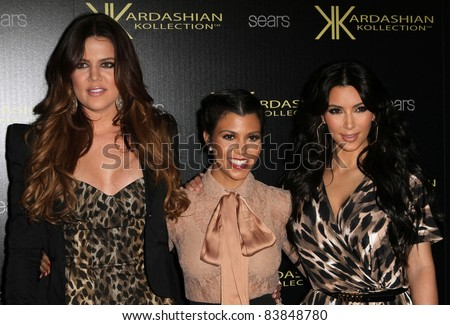 17 August 2011 - Hollywood, California - Khloe Kardashian, Kourtney Kardashian, and Kim Kardashian. Kardashian Kollection Launch Party Held at The Colony. Photo Credit: Kevan Brooks/AdMedia - stock photo