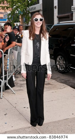 "18 August 2011 - New York City, NY - Anne Hathaway. ""The Daily Show"" Arrivals. Photo Credit: Christopher Smith/AdMedia - stock photo"