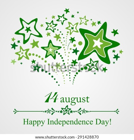 14 August. Pakistan Independence Day. Celebration Card. Illustration - stock photo