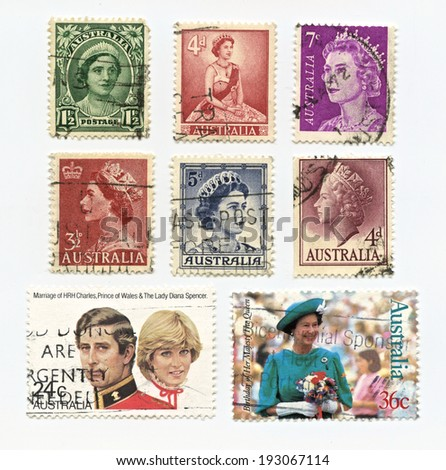 Australia - 1950 - 2000: Stamps printed  of Queen Elizabeth, Prince Charles and Lady Diana Spencer stamps in Australia. - stock photo