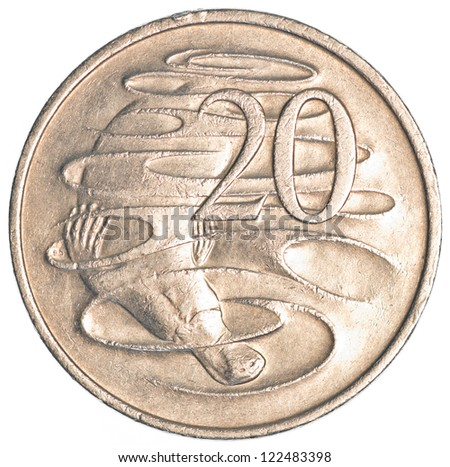 20 australian cents coin isolated on white background - stock photo