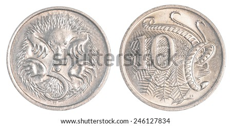 5+10 australian cents coins isolated on white background - stock photo