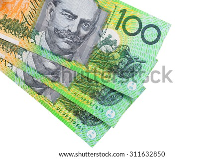 100 Australian dollar (AUD) banknotes on white background - stock photo