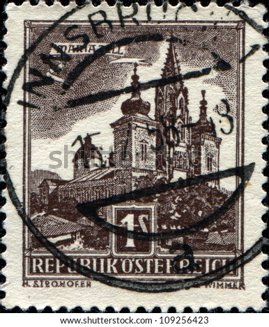 AUSTRIA - CIRCA 1959: A stamp printed in Austria shows Mariazell Basilica of the Birth of the Virgin Mary, series, circa 1959