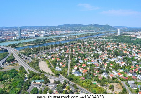 Austria. View of the Danube and surroundings of Vienna