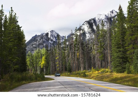 Automobile travel to northern reserves in the fine autumn - stock photo