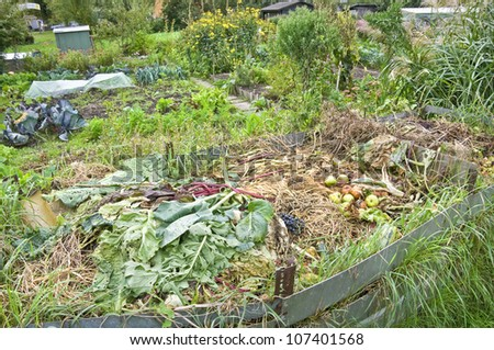 Autumnal compost bin in a vegetable garden - stock photo