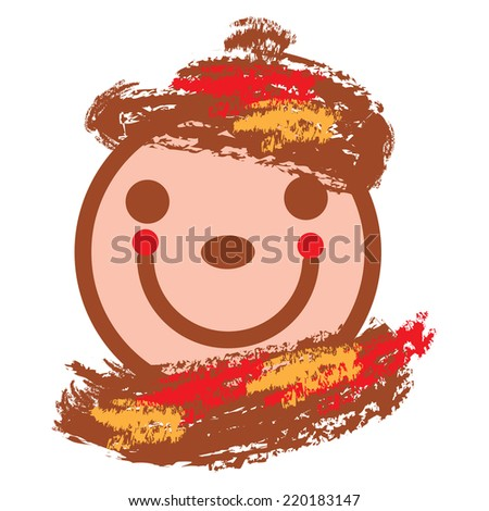 autumnal illustration of  smiling face in warm colors