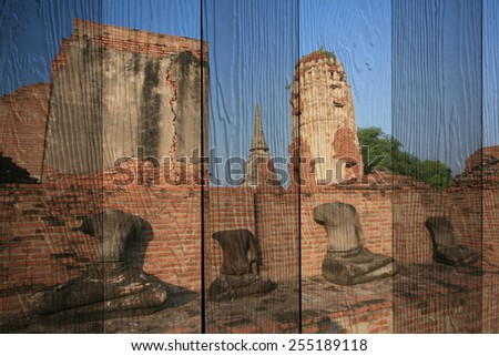 """ayutthaya historic park"" Mural. The wood painting  concept - stock photo"