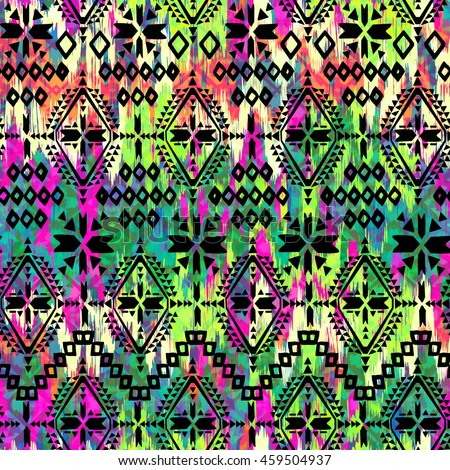 Aztec print over Painted ikat smudges ~ seamless background