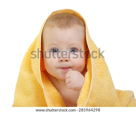 baby in towel on white background - stock photo