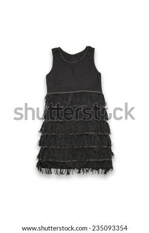 Baby little black dress on a white background - stock photo