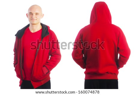 Back and front view of young bald man in sport red jacket with zipper holding hands in pockets isolated on white background