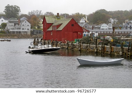 """Back Harbor"" -- The back side of Motif # 1 - Rockport, Massachusetts, USA. - stock photo"