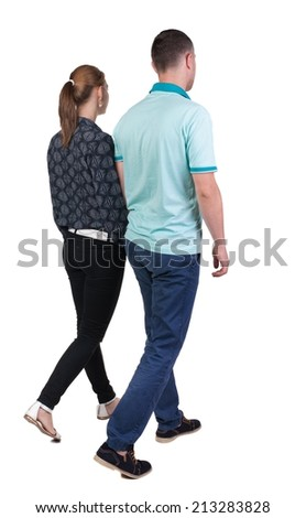 Back view going couple. walking friendly girl and guy holding hands. Rear view people collection. backside view of person. Isolated over white background.  - stock photo