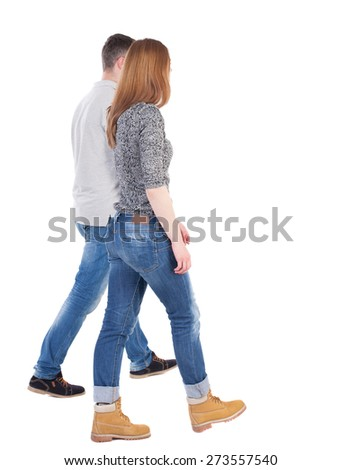 Back view going couple. walking friendly girl and guy holding hands. Rear view people collection. backside view of person. Isolated over white background.  Stylish man and woman go together. - stock photo