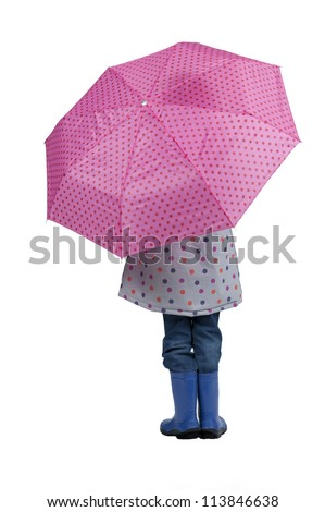 back view of girl with pink umbrella - stock photo