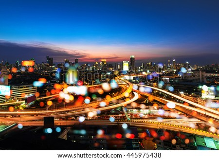 Background blur Lights of cars on the road. And views of city lights at night. - stock photo