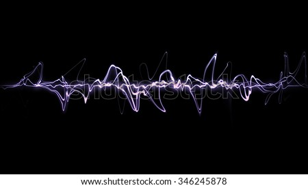 Background Design  Purple frequency diagram of graphic audio equalizer for digital player - stock photo