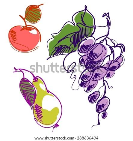 background for design with a set of images of fruits  - stock photo