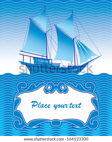 background for greeting card with a ship - stock photo