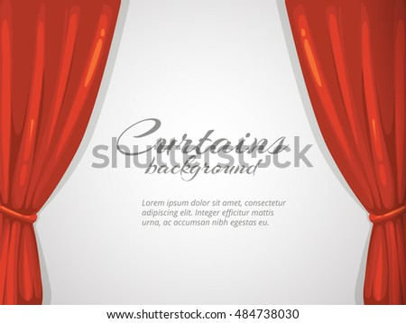 background illustration with red curtain. Picture with place for your text. Isolate on white background. Decoration frame