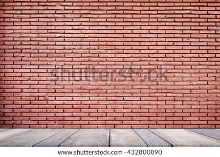 Background of brick wall texture on wooden floor  - can be used for display or montage your products - stock photo