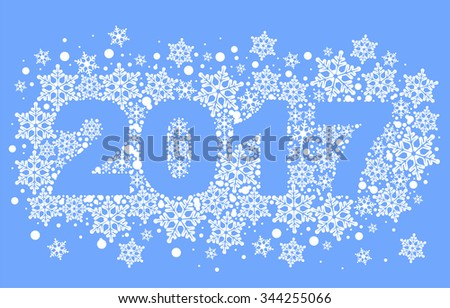 2017 Background Snowflakes Number Text Symbol Stock Illustration