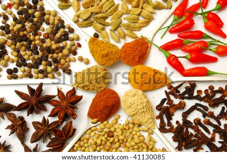 background of spices in a pattern
